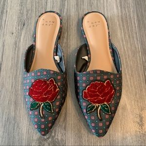 A New Day Jen Rose Patch Pointed Toe Mules